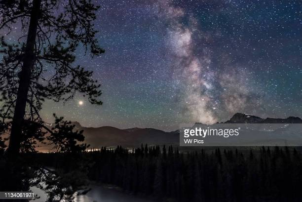 The Milky Way and Galactic Centre right and Mars at left near its brightest for 2018 over the Bow River and Bow Valley looking south and west to...