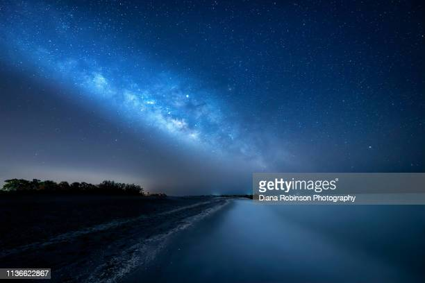 the milky way and jupiter over turner beach on captiva island, florida - jupiter island florida stock photos and pictures