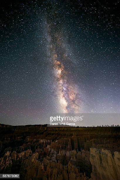 the milky way and some trees. in the mountains of bryce canyon, utah. - country geographic area stock pictures, royalty-free photos & images