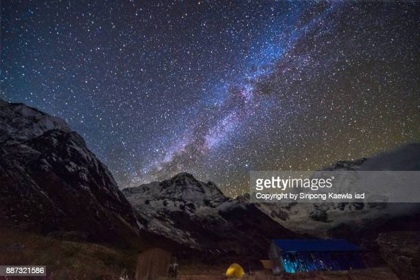 The milky way and stars over the Annapurna mountain range from the Annapurna Base Camp (ABC), Nepal.