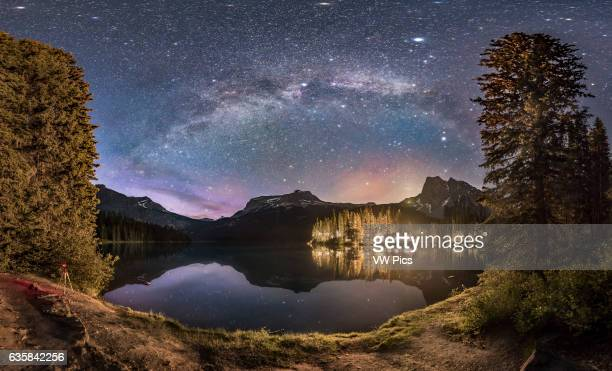 The Milky Way arching over Emerald Lake and Emerald Lake Lodge in Yoho National Park BC This was on June 6 2016 and despite it being about 130 am the...