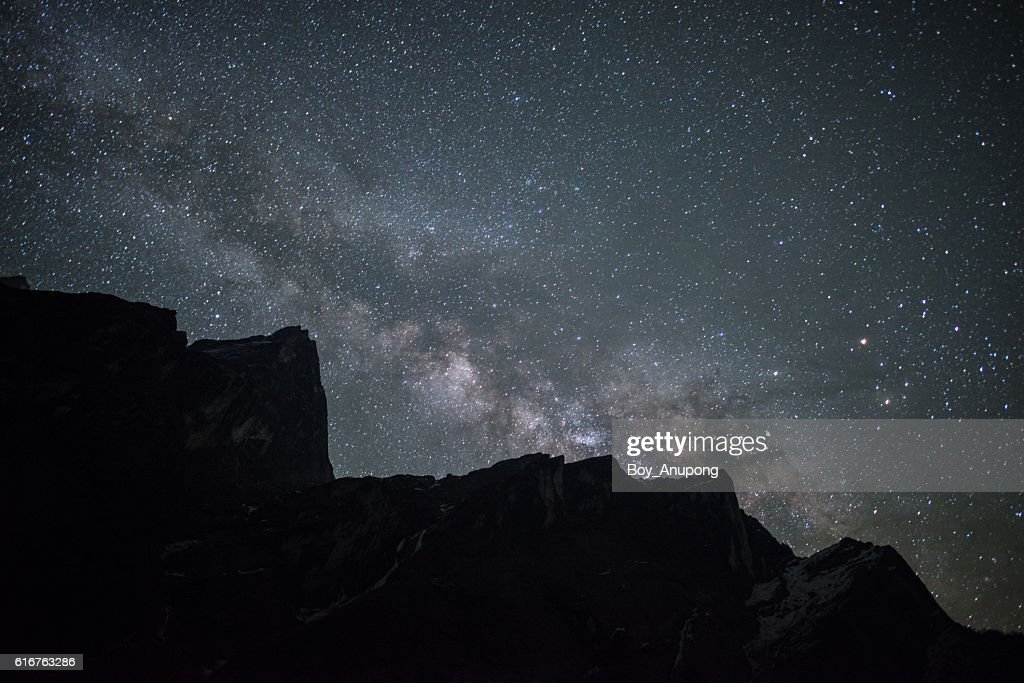The milky way in the starry night over the Himalaya mountains range in Nepal. : Stock Photo