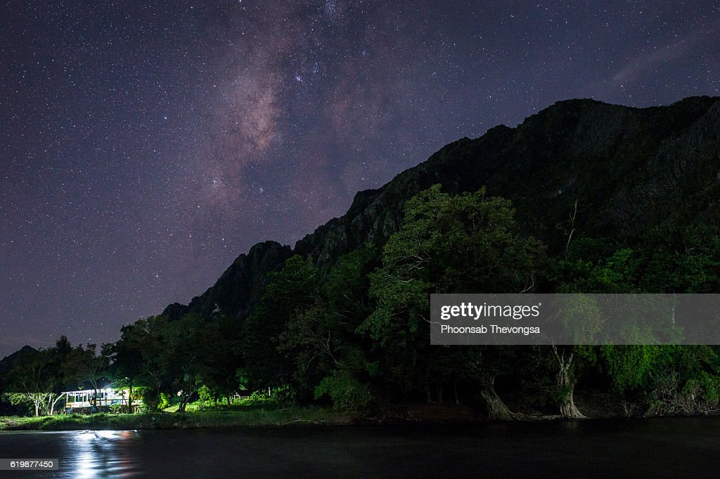 The Milky Way in Vangvieng : Stock Photo