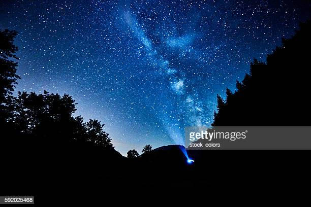 the milky way on the sky in the night time