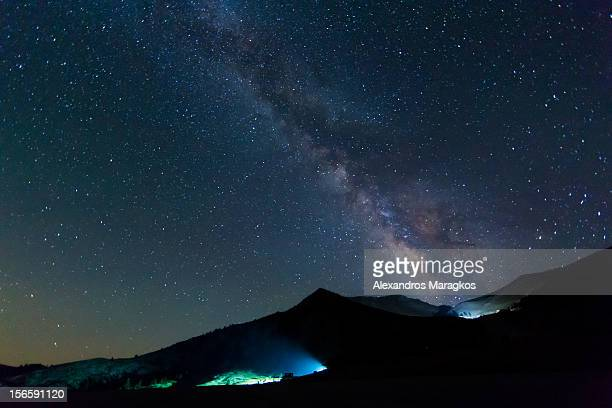 The Milky Way over Kalavryta city at Chelmos Mountain Achaia Greece at an altitude of 1700m/5577ft