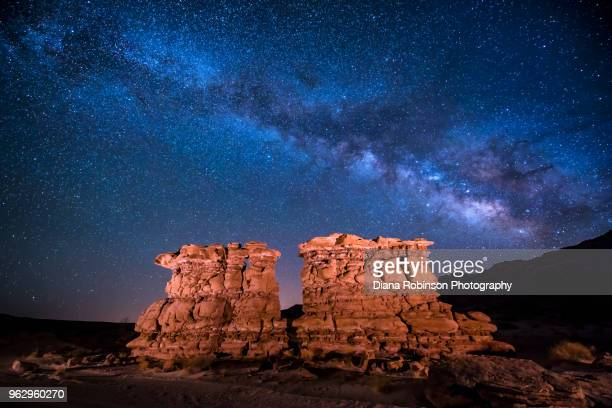 The Milky Way over rock formations near Bluff, Utah