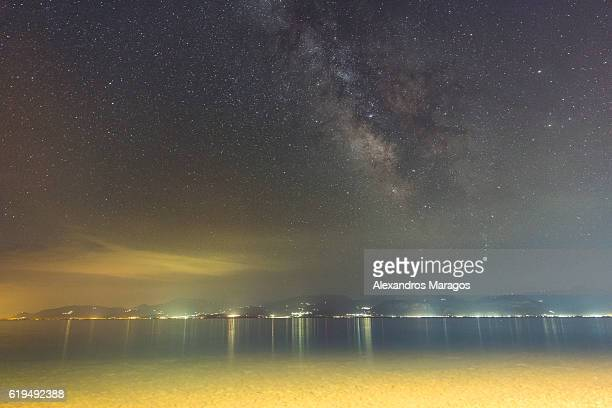 The Milky Way over the Gulf of Corinth in Greece
