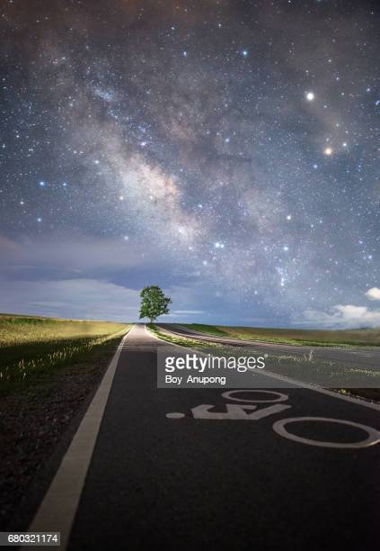 the milky way over the lone tree in the starry night. - coltsfoot stock photos and pictures