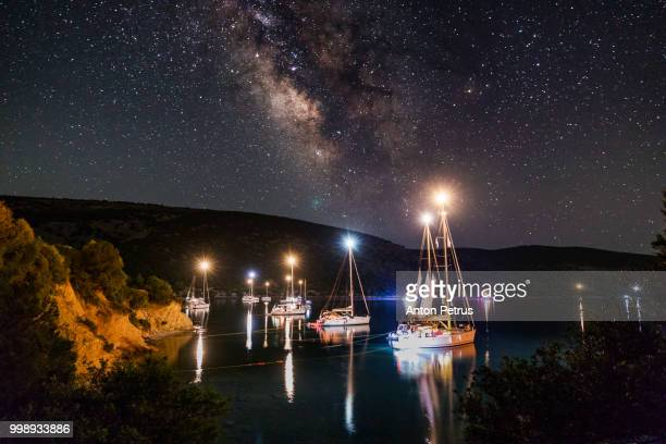 The Milky Way over the yachts. Dokos Island, Greece