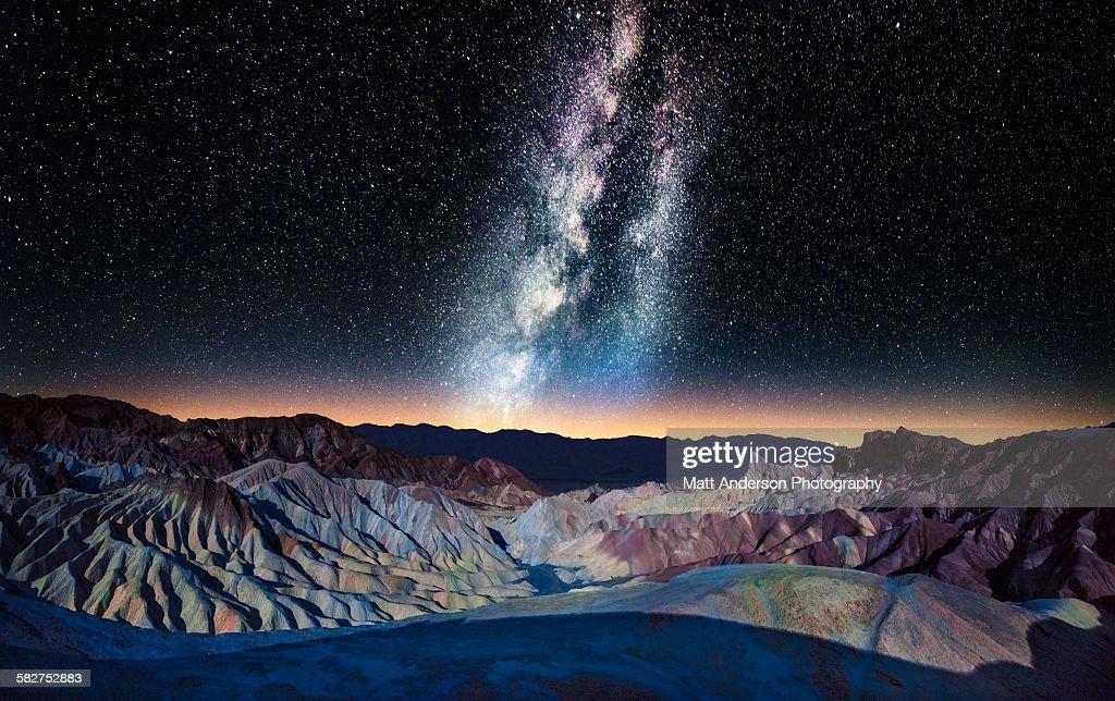 The Milky Way over Zabriskie Point, Death Valley : Stock Photo