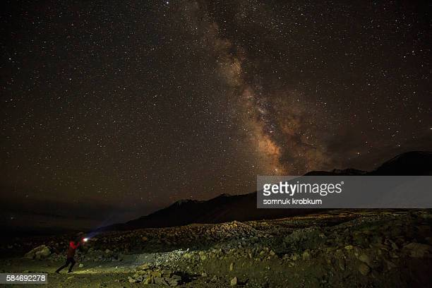 The milky way sky with a man.