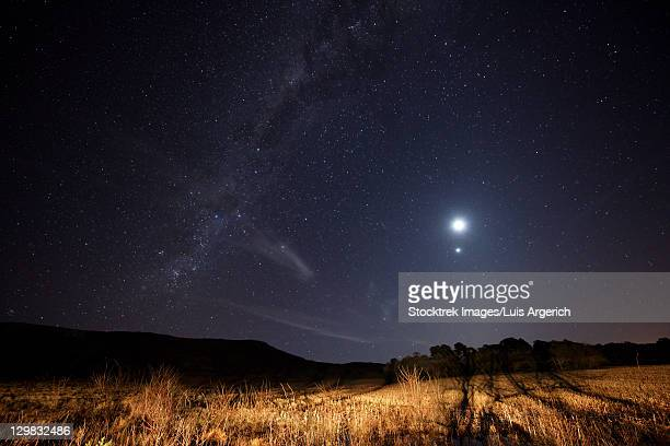 The Milky Way, the Moon, Venus and Spica just after twilight in Azul, Argentina.