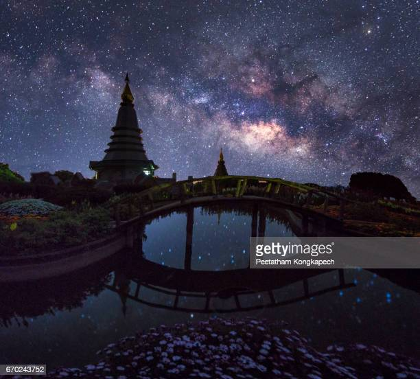 The Milky Way with Phra That Doi Inthanon, located in Chiang Mai, Thailand.