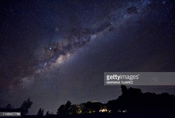 The Milky Way's Galactic Centre, Jupiter and the Small Magellanic Cloud galaxy are seen late on May 10, 2019 from the Uruguayan countryside in the...
