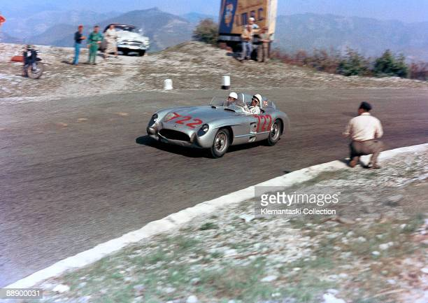 The Mille Miglia May 1 1955 A famous Yves Debraine color photo of Stirling Moss and Denis Jenkinson on the Futa Pass in the Mercedes 300SLR They won...
