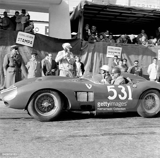 The Mille Miglia May 1112 1957 Alfonso de Portago and Edmund Nelson leaving the route check point at Ravenna during their fatal Mille Miglia