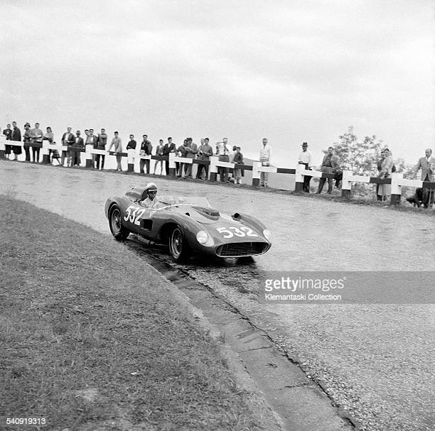 The Mille Miglia May 1112 1957 Wolfgang von Trips in wet condiitons on the Futa Pass in his Ferrari 335 Sport He would finish second to Piero Taruffi