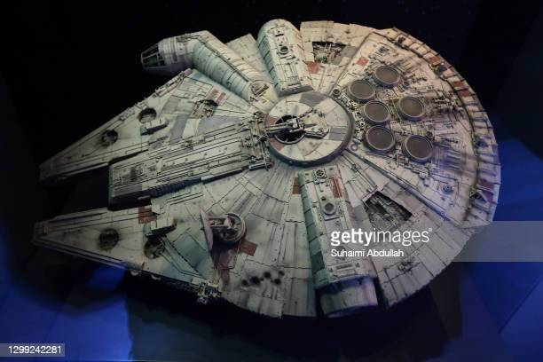 The Millenium Falcon starship on display at The Star Wars Identities exhibition during a media preview at The ArtScience Museum on January 29, 2021...