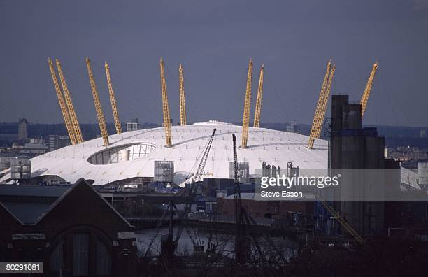 The Millennium Dome taken from the Greenwich Observatory south London 13th February 2000