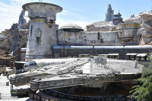 The Millennium Falcon at the Star Wars Galaxy's Edge media preview at The Disneyland Resort at Disneyland on May 29 2019 in Anaheim California