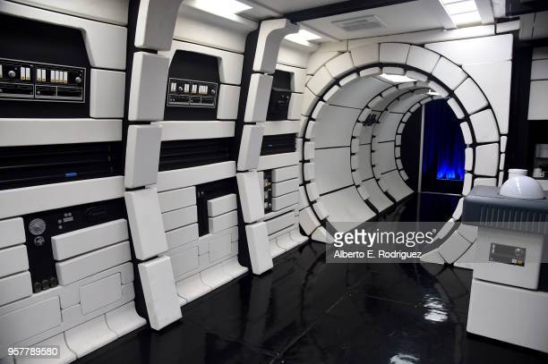 """The Millennium Falcon is seen at a press conference in Los Angeles on May 12, 2018 for """"Solo: A Star Wars Story,"""" which opens in U.S theaters on May..."""