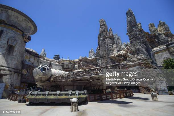 The Millennium Falcon sits outside the Millennium Falcon: Smugglers Run ride at Star Wars: Galaxy's Edge at Disneyland in Anaheim, CA, on Wednesday,...