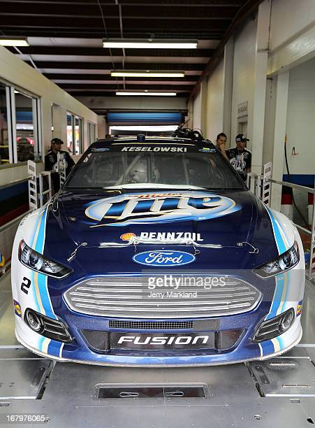 The Miller Lite Ford driven by Brad Keselowski goes through inspection during practice for the NASCAR Sprint Cup Series Aaron's 499 at Talladega...