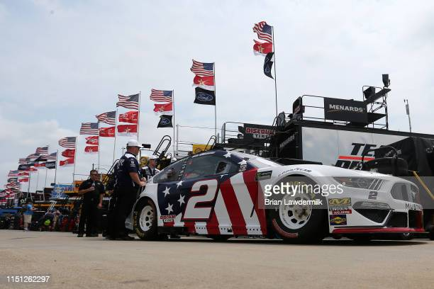 The Miller Lite Ford driven by Brad Keselowski waits in the garage area during practice for the Monster Energy NASCAR Cup Series CocaCola 600 at...