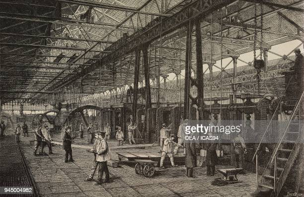 The milling workshop in the Creusot factory France illustration of Dietrich from L'Industria Rivista tecnica ed economica illustrata Milan 1890