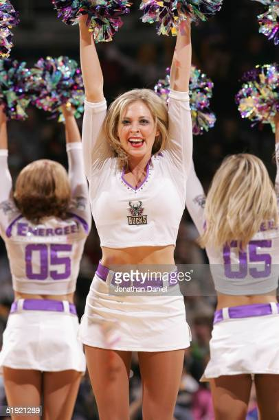 The Milwaukee Bucks cheerleaders perform during a break from the game against the Houston Rockets on December 28 2004 at Bradley Center in Milwaukee...