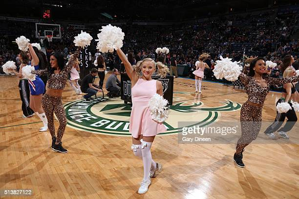The Milwaukee Bucks dance team is seen before the game against the Minnesota Timberwolves on March 4 2016 at the BMO Harris Bradley Center in...
