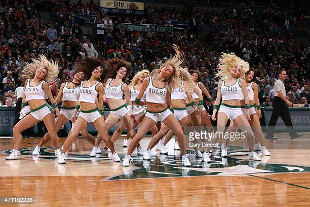 The Milwaukee Bucks dance team performs during a game against the Chicago Bulls in Game Four of the Eastern Conference Quarterfinals during the 2015...