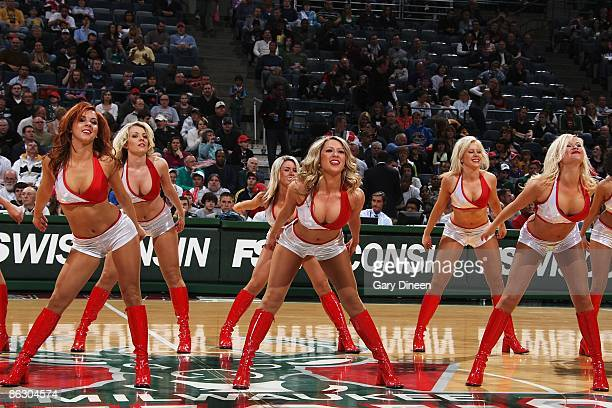 The Milwaukee Bucks dance team performs during the game against the Oklahoma City Thunder on April 11 2009 at the Bradley Center in Milwaukee...