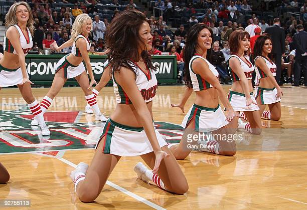 The Milwaukee Bucks dance team performs during the preseason game against the Detroit Pistons on October 23 2009 at the Bradley Center in Milwaukee...
