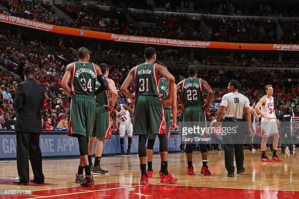 The Milwaukee Bucks during the game against the Chicago Bulls in Game One of the Eastern Conference Quarterfinals during the NBA Playoffs on April 18...