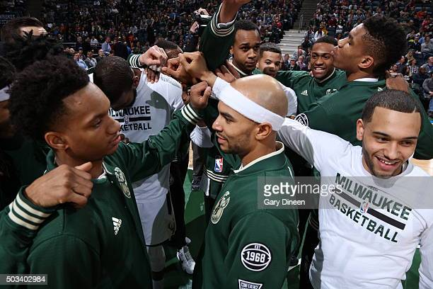 The Milwaukee Bucks huddle before the game against the San Antonio Spurs on January 4 2016 at the BMO Harris Bradley Center in Milwaukee Wisconsin...
