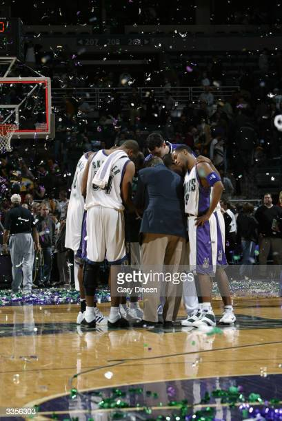 The Milwaukee Bucks huddle prior to the game against the Washington Wizards at Bradley Center on April 7, 2004 in Milwaukee, Wisconsin. The Bucks won...