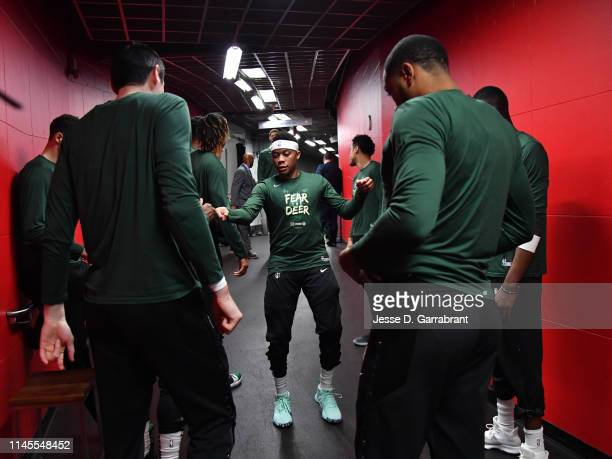 The Milwaukee Bucks huddle up against the Toronto Raptors during Game Four of the Eastern Conference Finals of the 2019 NBA Playoffs on May 19 2019...