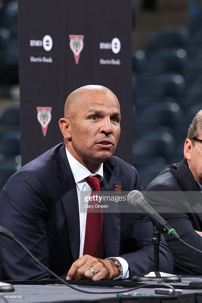 The Milwaukee Bucks introduce Jason Kidd as the new head coach during a press conference at the BMO Harris Bradley Center on July 2, 2014 in Milwaukee, Wisconsin.