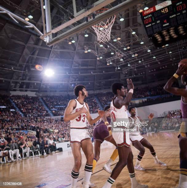 The Milwaukee Bucks' Kareem Abdul-Jabbar, Bob Dandrige and Oscar Robertson play defense against the Los Angeles Lakers and Wilt Chamberlain on March...