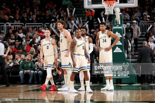 The Milwaukee Bucks look on during a game against the Charlotte Hornets on November 30, 2019 at the Fiserv Forum Center in Milwaukee, Wisconsin. NOTE...