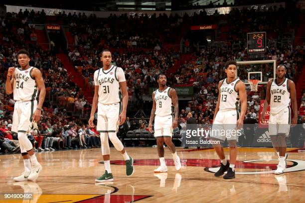 The Milwaukee Bucks looks on during the game against the Miami Heat on January 14 2018 at American Airlines Arena in Miami Florida NOTE TO USER User...