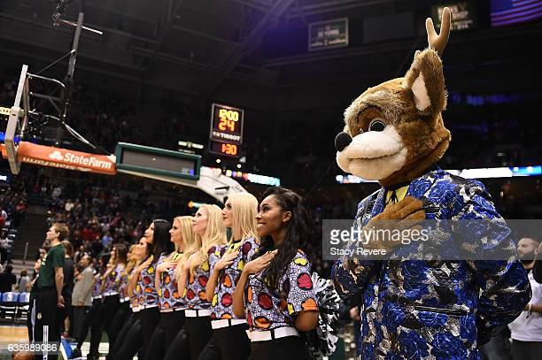 The Milwaukee Bucks mascot Bango and the cheerleaders honor Craig Sager prior to a game against the Chicago Bulls at the BMO Harris Bradley Center on...