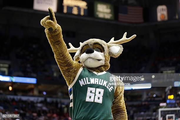 The Milwaukee Bucks mascot Bango gets the crowd into the game between the Golden State Warriors and the Milwaukee Bucks at BMO Harris Bradley Center...