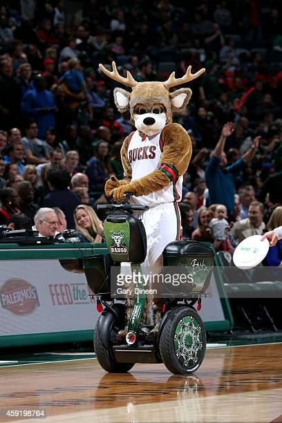 The Milwaukee Bucks mascot performs during a game against the New York Knicks on November 18 2014 at the BMO Harris Bradley Center in Milwaukee...