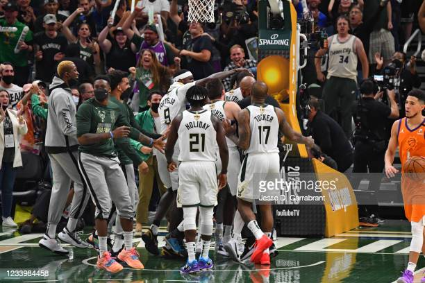 The Milwaukee Bucks react during Game Four of the 2021 NBA Finals on July 14, 2021 at Fiserv Forum in Milwaukee, Wisconsin. NOTE TO USER: User...