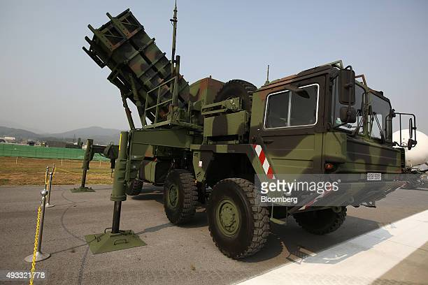 The MIM104 Patriot surfacetoair missile system stands on display at the Seoul International Aerospace Defense Exhibition at Seoul Airport in Seongnam...