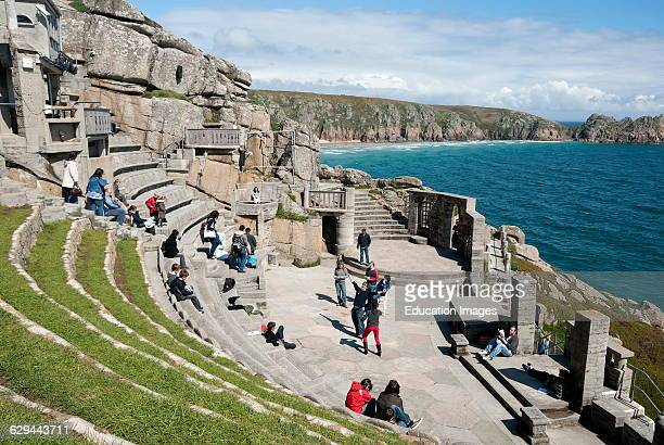 The Minack Theatre at Porthcurno in Cornwall UK is situated on the cliffs looking out over the Atlantic Ocean