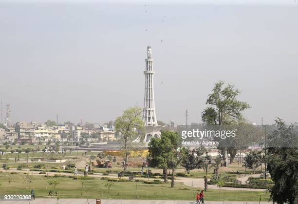 The MinarePakistan is seen at Iqbal Park in Islamabad Pakistan on March 18 2018 MinarePakistan also known as Pakistan Tower is one of the biggest...