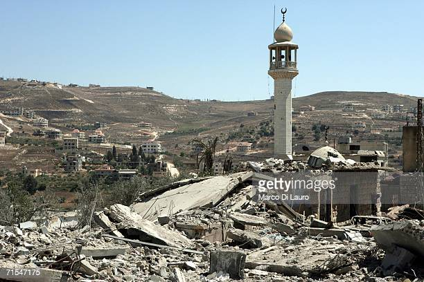 The minaret of a destroyed mosque stands after an Israeli bombing campaign July 31 2006 in Bint Jbail southern Lebanon The remaining civilian...